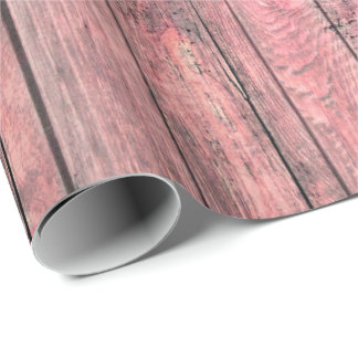 Shabby Grungy Gray Bright Rose Coral Pink Wood Wrapping Paper