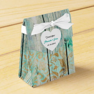 Shabby Grungy Wood Wedding Favor Thank You Party Favor Boxes