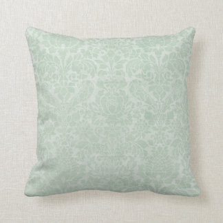 Shabby Mint Green Reversible Damask Throw Pillow