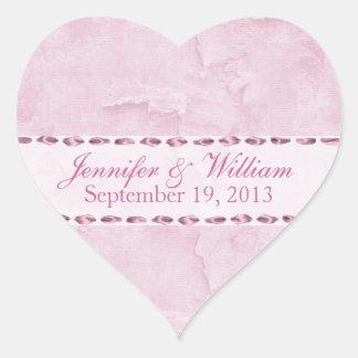 Shabby Pink Heart Custom Wedding Sticker