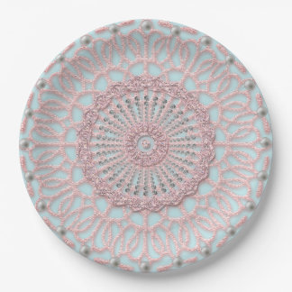 Shabby Pink Lace design Paper Plate
