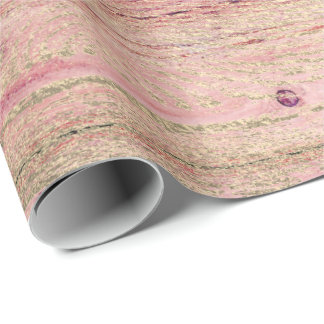 Shabby Pink Raspberry Pastel Gold Wood Foxier Wrapping Paper