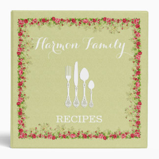 Shabby Pink Roses Family Recipes or Photo Album Vinyl Binders