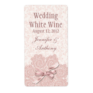 Shabby Pink Victorian Wedding Mini Wine