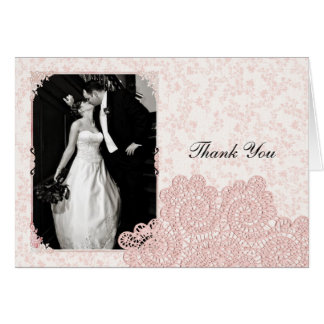 Shabby Pink Victorian Wedding Photo Thank You Card