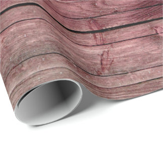 Shabby  Raspberry Burgundy Pink Wood Foxier Wrapping Paper