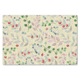 Shabby Red Blue Berries Pink Green Leaves Tissue Paper
