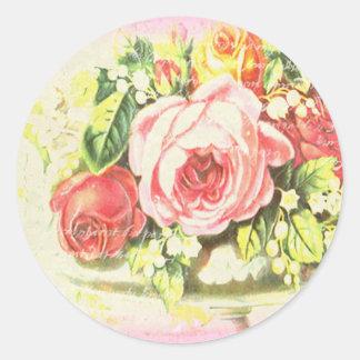 Shabby Rose Collage Art Classic Round Sticker