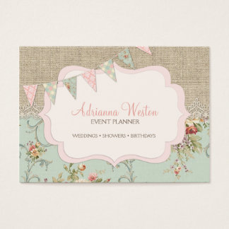 Shabby Rustic Country Chic Burlap Blush Floral Business Card