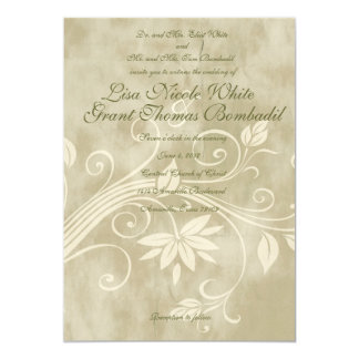 Shabby Taupe Floral Wedding Invitations