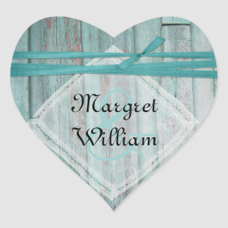 Shabby Turquoise Painted Wood Envelope Seal Heart Sticker