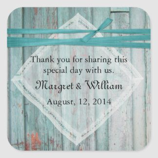 Shabby Turquoise Painted Wood Wedding Sticker