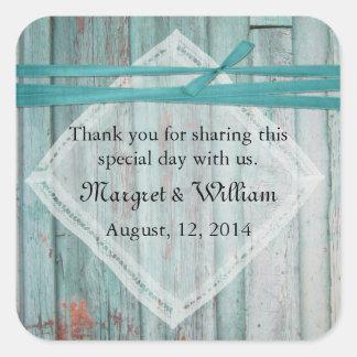 Shabby Turquoise Painted Wood Wedding Sticker