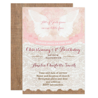 Shabby vintage Christening and 1st Birthday Party Card
