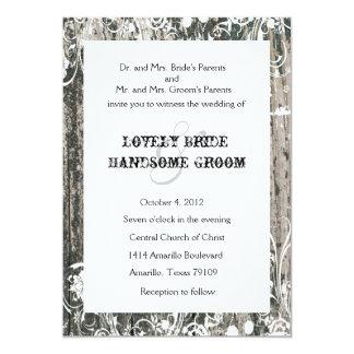 Shabby Vintage Old Wood Cream Wedding Invitations