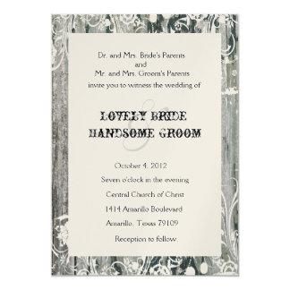 Shabby Vintage Old Wood Gold Wedding Invitations