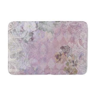 Shabby Vintage Purple Floral Bath Mat