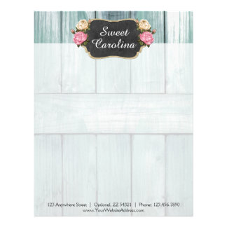 Shabby Vintage Roses Rustic Country Chalkboard Letterhead