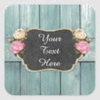Shabby Vintage Roses Rustic Country Chalkboard Square Sticker