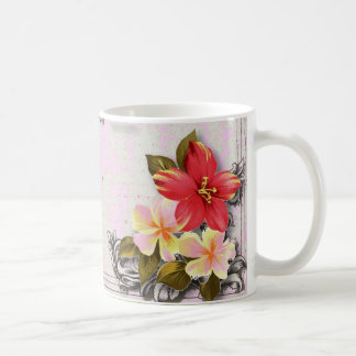 ShabbyChic Hawaii Floral Beach Wedding Favor Basic White Mug