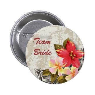 ShabbyChic Hawaii Floral Beach Wedding Favour 2 Inch Round Button
