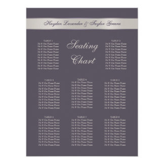 Shabbychic Lavender Stripes Wedding Seating Chart Poster