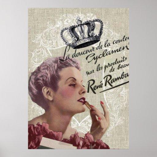 shabbychic Posh Vintage Paris Lady Fashion Poster