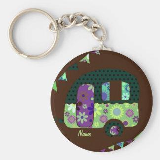 Shabbychic retro trailer, camper, caravan bunting keychain