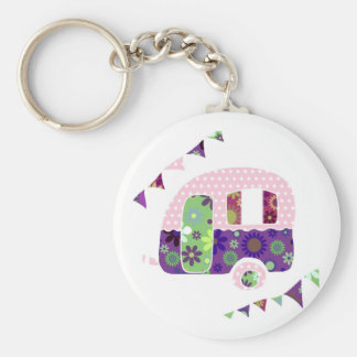 Shabbychic trailer, caravan camper with bunting keychain
