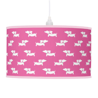 Shade of Pink Dachshund Pendent Light Lamp