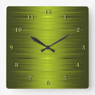 Shaded Olive Moss Green Square Wall Clock