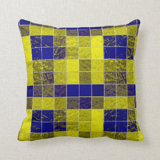 Shades Blues-Yellows Boxes Soft-Pillows Throw Pillow