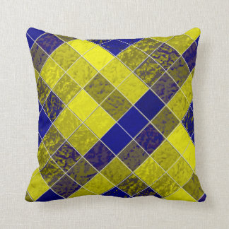 Shades Blues Yellows Diamonds Soft-Pillows Throw Pillow