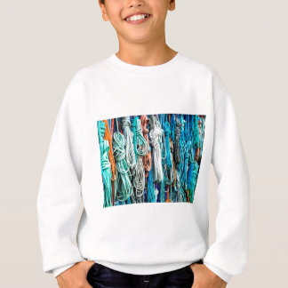 Shades of Aqua Blue Boat Ropes - Nautical Print Sweatshirt