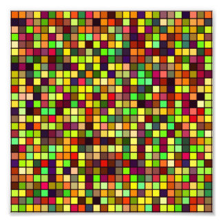 Shades Of Autumn Multicolored Squares Pattern Photo Art