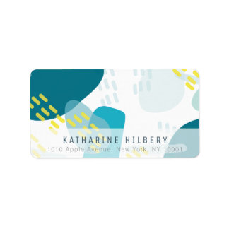 Shades of Blue Abstract Pattern Address Label