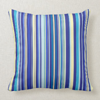 Shades of Blue and Yellow Vertical Stripes Throw Pillow