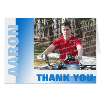 Shades of Blue Bar Mitzvah Thank You with Photo Card