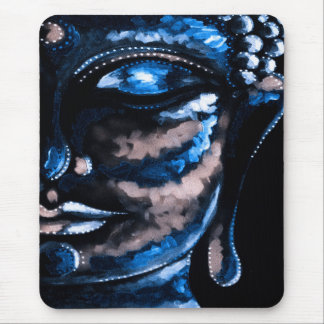 SHADES OF BLUE BUDDHA FACE MOUSEPAD