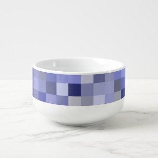 Shades of Blue Checked Pattern Soup Mug