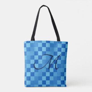 Shades of Blue Checkers Tote Bag