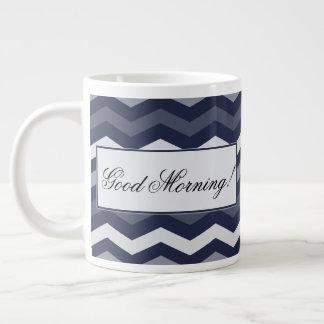 Shades of Blue Chevron Large Coffee Mug
