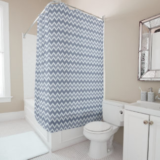 Shades of Blue Chevron Striped Shower Curtain