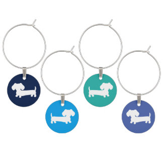 Shades of Blue Dachshund Doxie Charms Wine Charm
