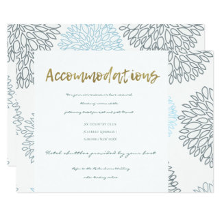 SHADES OF BLUE DAHLIA FLORAL PATTERN ACCOMMODATION CARD