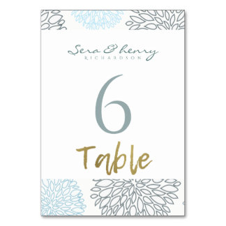 SHADES OF BLUE DAHLIA FLORAL PATTERN GOLD TABLE CARD
