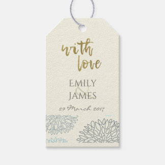 SHADES OF BLUE DAHLIA FLORAL PATTERN MONOGRAM GIFT TAGS