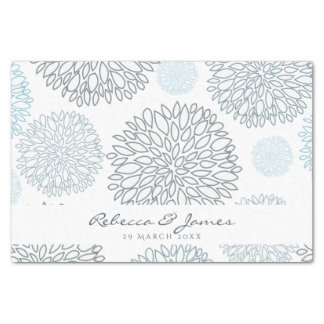 SHADES OF BLUE DAHLIA FLORAL PATTERN MONOGRAM TISSUE PAPER