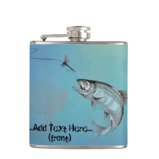 Shades of Blue Fly Casting with Leaping Trout Hip Flask