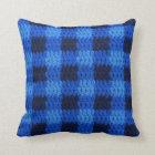 Shades of Blue Gingham Plaid Crochet Print on Throw Pillow